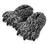 Tonwhar Grizzly Bear Paw Wool Leopard Series Slippers (dark grey)