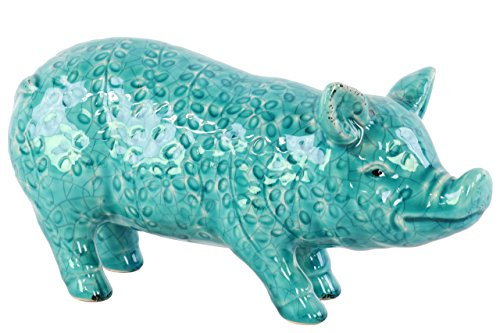 Urban Trends Ceramic Standing Pig Figurine with Floral Pattern in Gloss Finish, Turquoise