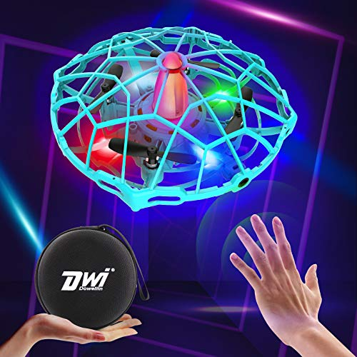 Dwi Dowellin 4.5 Inch Hand Operated Drones for Kids or Adults, 10 Minutes Long Flight Time LED Mini Flying Drones Home…