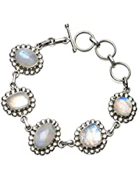 "StarGems(tm) Natural Rainbow Moonstone Unique Punk Style 925 Sterling Silver Bracelet 6 3/4-8"""