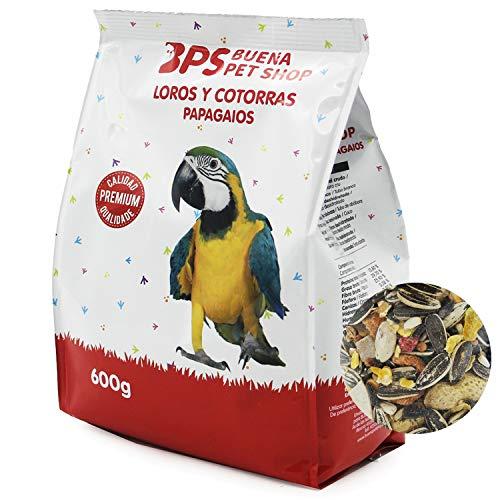 BPS Pienso Loros Alimento Completo Papagayo con Formula Alta Energía Material Natural 400g/600g/Pack para Elegir (Snack…