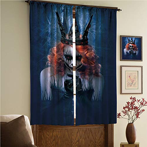 iPrint Blackout Curtain-Window Handling/Privacy,Queen,Queen of Death Scary Body Art Halloween Evil Face Bizarre Make Up Zombie,Navy Blue Orange Black,108.3