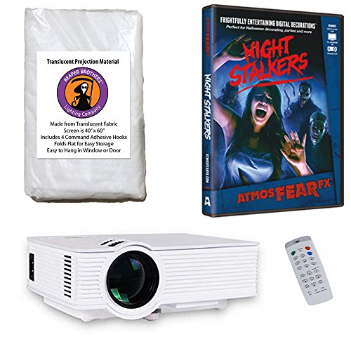 AtmosFearFx Night Stalkers Halloween DVD Projector Kit with 1900 Lumen LED Video Projector, Reaper Brothers High Resolution Window Rear Projection Screen
