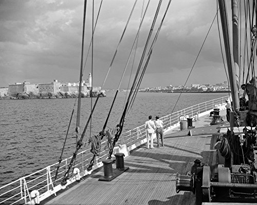 Posterazzi Poster Print Collection 1930s-1940s Two Men on Deck of Steamer Ship Coming into Havana Harbor Cuba Vintage, (22 X 28), Multicolored