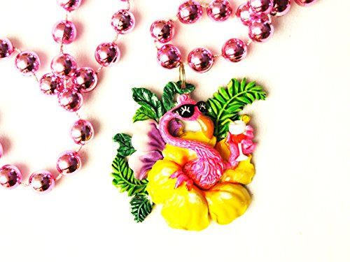 Pink Flamingo Tropical Party Mardi Gras Beads New Orleans -