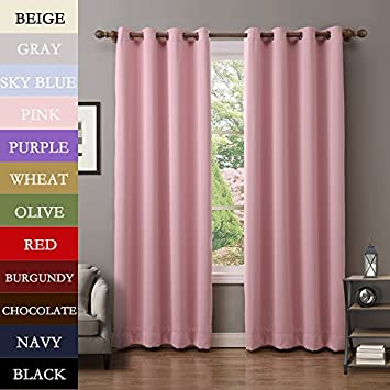 Amazon.com: COFTY Thermal Insulated Grommet Blackout Curtains For ...