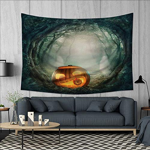 Anhuthree Halloween Tapestry Wall Hanging 3D Printing Drawing of Scary Halloween Pumpkin Enchanted Forest Mystic Twilight Party Art Beach Throw Blanket 60