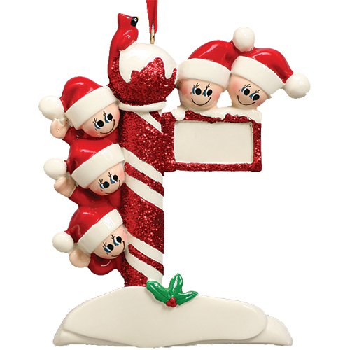 - Personalized Street Post Family of 5 Christmas Tree Ornament 2019 - Child Friend Santa Hat Red Glitter Candy Cane Pole Cardinal Gift Kid Tradition Gift Year Snow - Free Customization (Five)