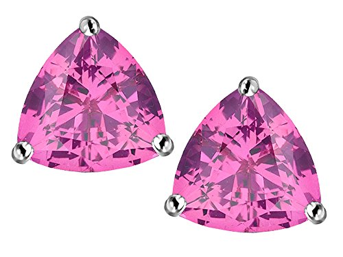 (Star K Trillion 7mm Created Pink Sapphire Earrings Studs Sterling Silver)