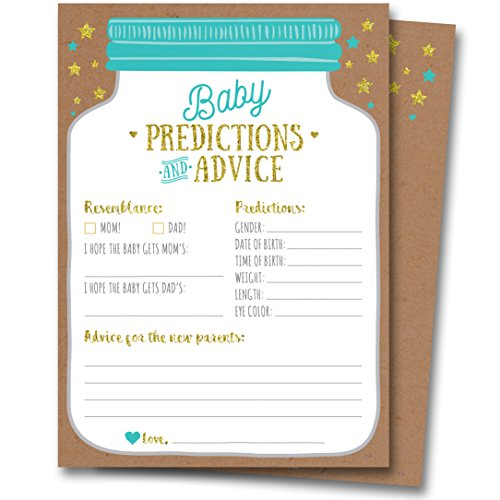 50 Mason Jar Baby Shower Prediction and Advice Cards - Gender Neutral Boy or Girl, Baby Shower Games Favors -