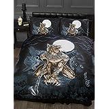 Single Bed Loups Garou, Alchemy Gothic Duvet / Quilt Cover Bedding Set, Werewolf, Full Moon, Wolf, Skulls, Bats, Graveyard, Chains, Black, Blue, Brown, White by Alchemy Gothic