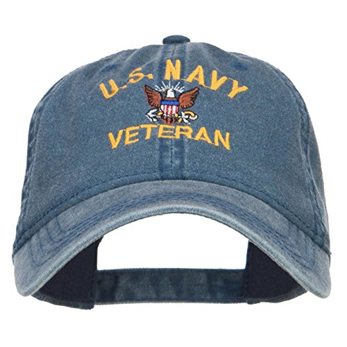 E4hats US Navy Veteran Military Embroidered Washed Cap - Navy OSFM
