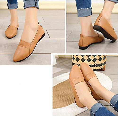 shallow ladies flat shoes leather autumn and shoes mouth shoes casual work low pointed Spring heeled EU 42 shoes FLYRCX W6xzYnSx