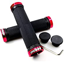 LYCAON Bike Handlebar Grips, Non-Slip-Rubber Bicycle Handle Grip with Aluminum Lock, Bike Grip for Scooter Cruiser Tricycle Wheel Chair Mountain Road Urban Foldable Bike MTB BMX