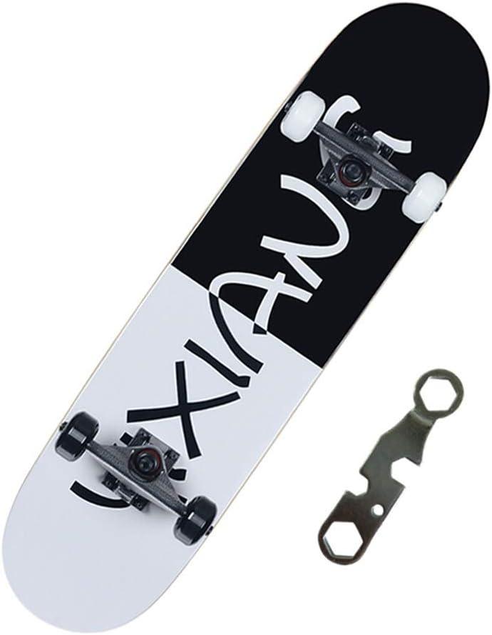 LINGLING-スケートボード 標準的なスケートボードの四輪スケートボード初心者ユース道路ブラシストリートチルドレン大人の男の子と女の子のプロフェッショナルダブルアップスケートボード 黒 and 白い