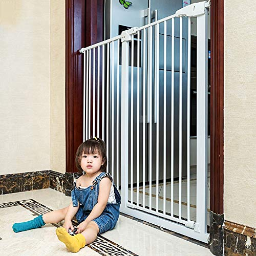 FF Pet Baby Gate 110cm Extra Tall Metal Baby Stairs Gates for Doorway Hallway, Pressure Mount White Walk-Thru Pet Gate with Self-Closing Door, 134-144cm Wide