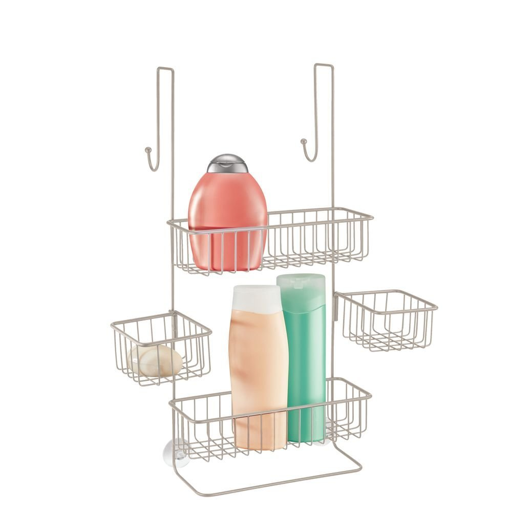 InterDesign Metalo Adjustable Over Door Shower Caddy – Bathroom Storage Shelves for Shampoo, Conditioner and Soap, Satin by InterDesign (Image #1)