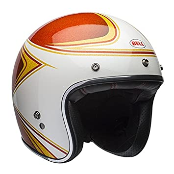 Bell Custom 500 Copperhead Open Face Casco de Moto, Orange White, Medium