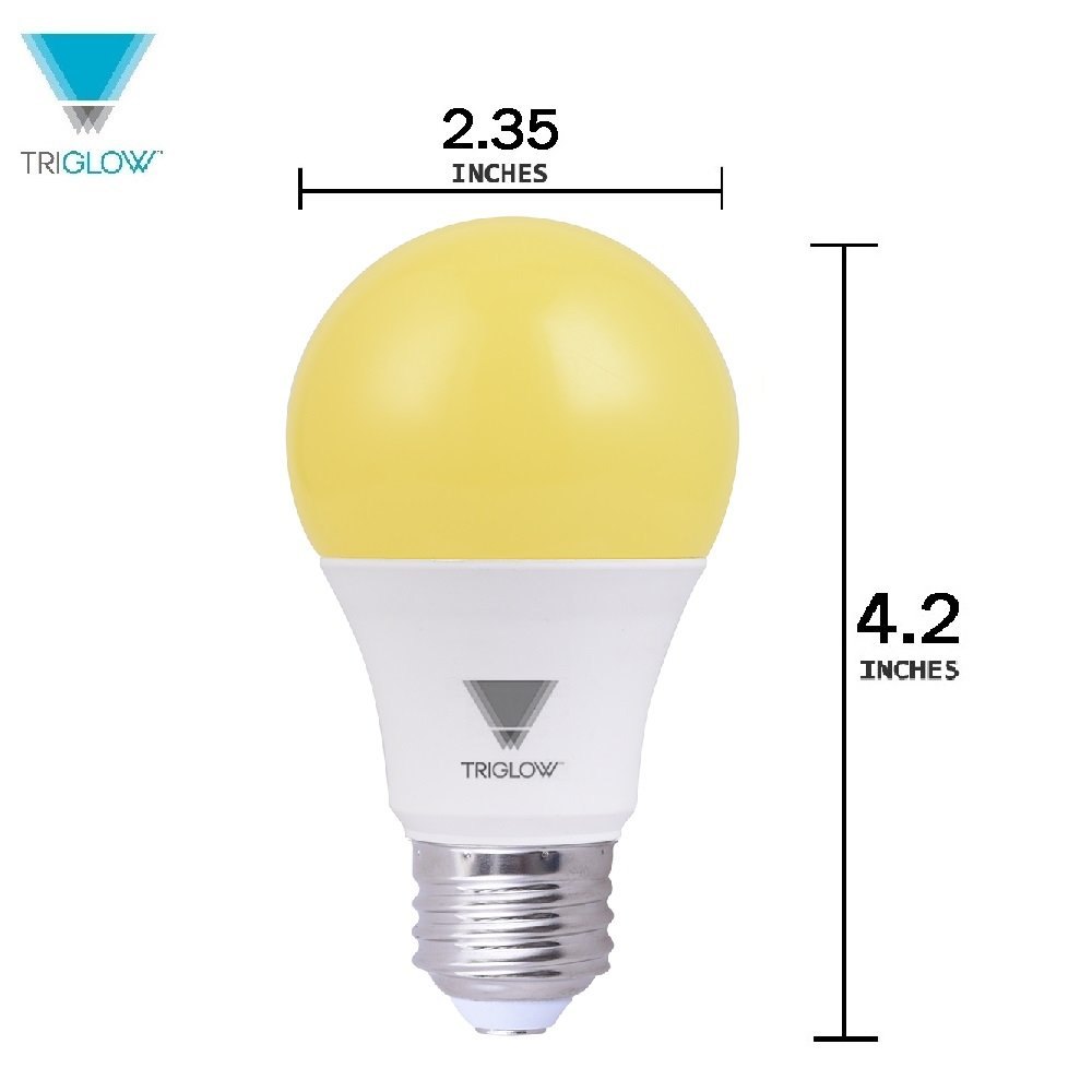 Outdoor Porch Lights LED A19 Light Bulb Bug Light Bulb Yellow LED Bulbs 60W Equivalent 12-Pack T90950 TriGlow Bug Light Bulbs Outdoor 9W