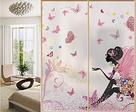 Flower Fairy cristal las dos pegatinas para puerta corredera puerta de cristal armario de puertas correderas armario de paisaje de película cuadro 60 * 80 cm autoadhesivas película: Amazon.es: Hogar