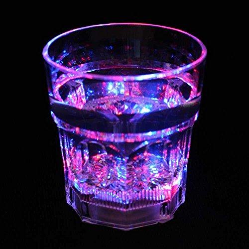 8 oz LED Light-Up Flashing Rocks / Whiskey Glass, Set of 12 Cups