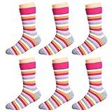 IMOZY Crew Socks for Girls, Toddler Big Little Kids' Cotton Socks- Rainbow Striped Girls' Dress Socks Pack- Size 9.5-12.5 for Little Kids- 6 Pair