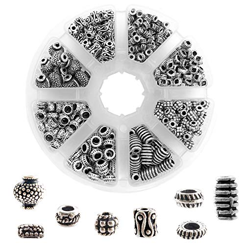 Metal Bead Kit - 650 PCS Tibetan Bali Antique Silver Metal Spacer Beads for Jewelry Making Adults, 8 Style Large Hole Beads for DIY Bracelets & Necklace, Bulk Alloy Bead Spacers Findings Bead Assortment w/Organizer