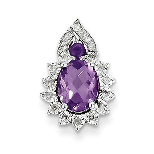 Argent Sterling diamant pendentif JewelryWeb-Améthyste