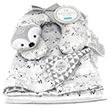 Forest Animals Gray and White Reversible Baby Blanket with Travel Pillow | 30in X 40in | Fox, Deer, Owl,Mouse