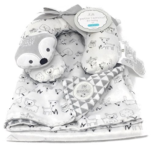 Forest Animals Gray and White Reversible Baby Blanket with Travel Pillow | 30in X 40in | Fox, Deer, Owl,Mouse by Petite l'amour