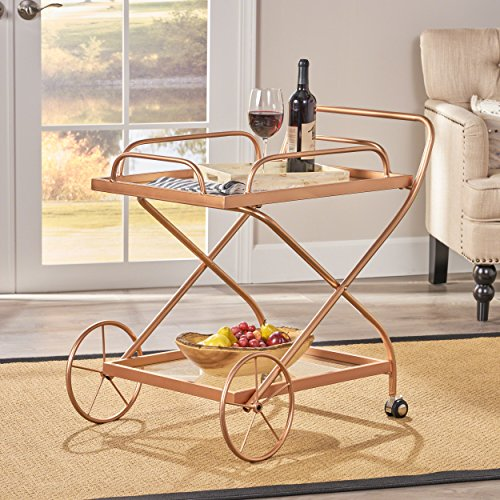- Christopher Knight Home 304470 Patty Traditional Iron and Glass Bar Cart, Rose Gold,
