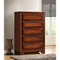 Roundhill Furniture Oakland 139 Antique Oak Finish Wood 5 Drawers Chest