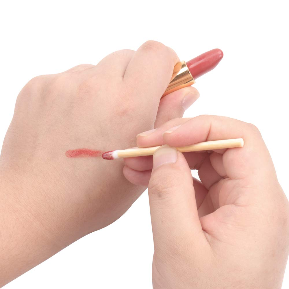 100pcs Lip Gloss Wands Disposable Bamboo Handle Lip Brushes Lipstick Applicator Makeup Tool: Beauty