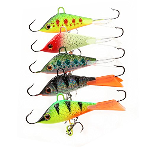 - A-SZCXTOP Ice Fishing Jig Lures Lifelike Swimbait with Treble Hooks for Bass Pike Trout Walleye Fishing Freshwater Saltwater Jigging (Type1)