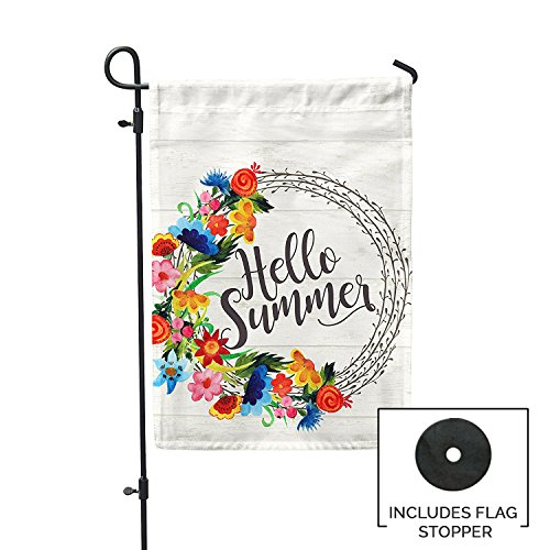 Second East Hello Summer Bright Wreath Garden Flag Outdoor P