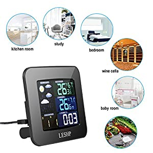 LESHP Multifunctional Wireless Color Weather Station with Indoor Outdoor Temperature, Forecast, Humidity, Barometric Pressure, Time Clock, Snooze Button & Min/Max Memory