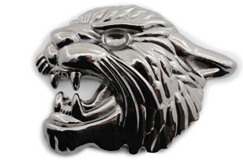 TFJ Men Women Belt Buckle Fashion Metal Tiger Leopard Cat Head Animal Pewter Silver