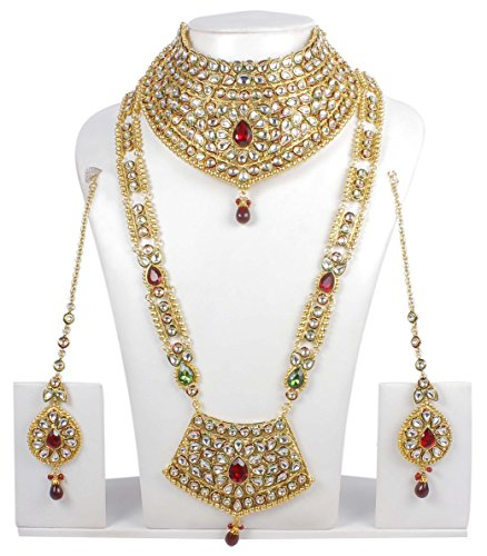 Ethnic Traditional Long Necklace Ethnic Indian Bridal Jewelry Bollywood Earrings Gold Plated Set by Muchmore