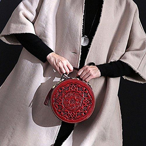 de Rétro main femme Rond Sac bandoulière Sac Sac en Sac fermeture à cuir pour Sac bandoulière Éclair à couches ROND cuir Sac à red de deux une télép Sac portant pour Chinese femelle Sac Poche bandoulière document PxwnfTqBR