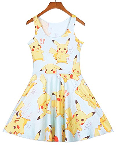 Lady Queen Women's Pikachu Printed Scoop Reversible Pleated Skater Dress M Blue Yellow
