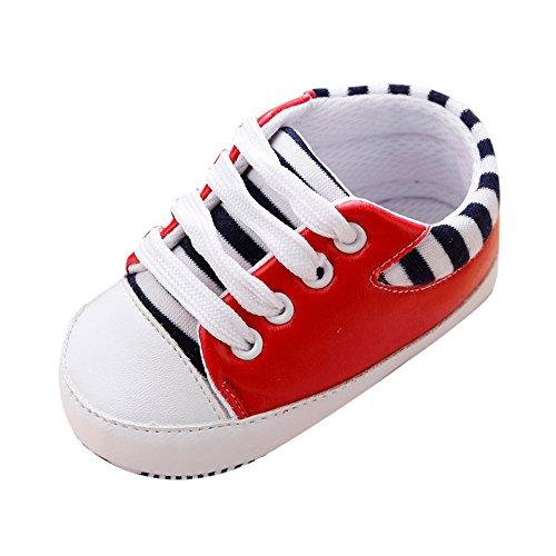 kingko® Kinder Streifen rutschen weiche Sohlen Schritt Babyschuhe Geeignet für 0 bis 18 Monate Red