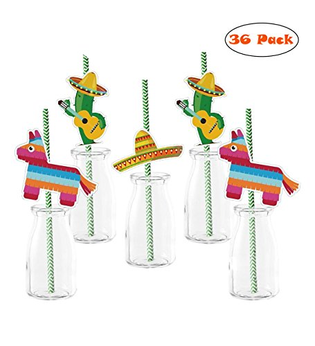 36 Pcs Mexican Hat Paper Straw Decor Fiesta Horse Cactus Party straws-FIESTA Cinco de MAYO Party MEXICAN HATS DECOR (Fiesta Tableware)