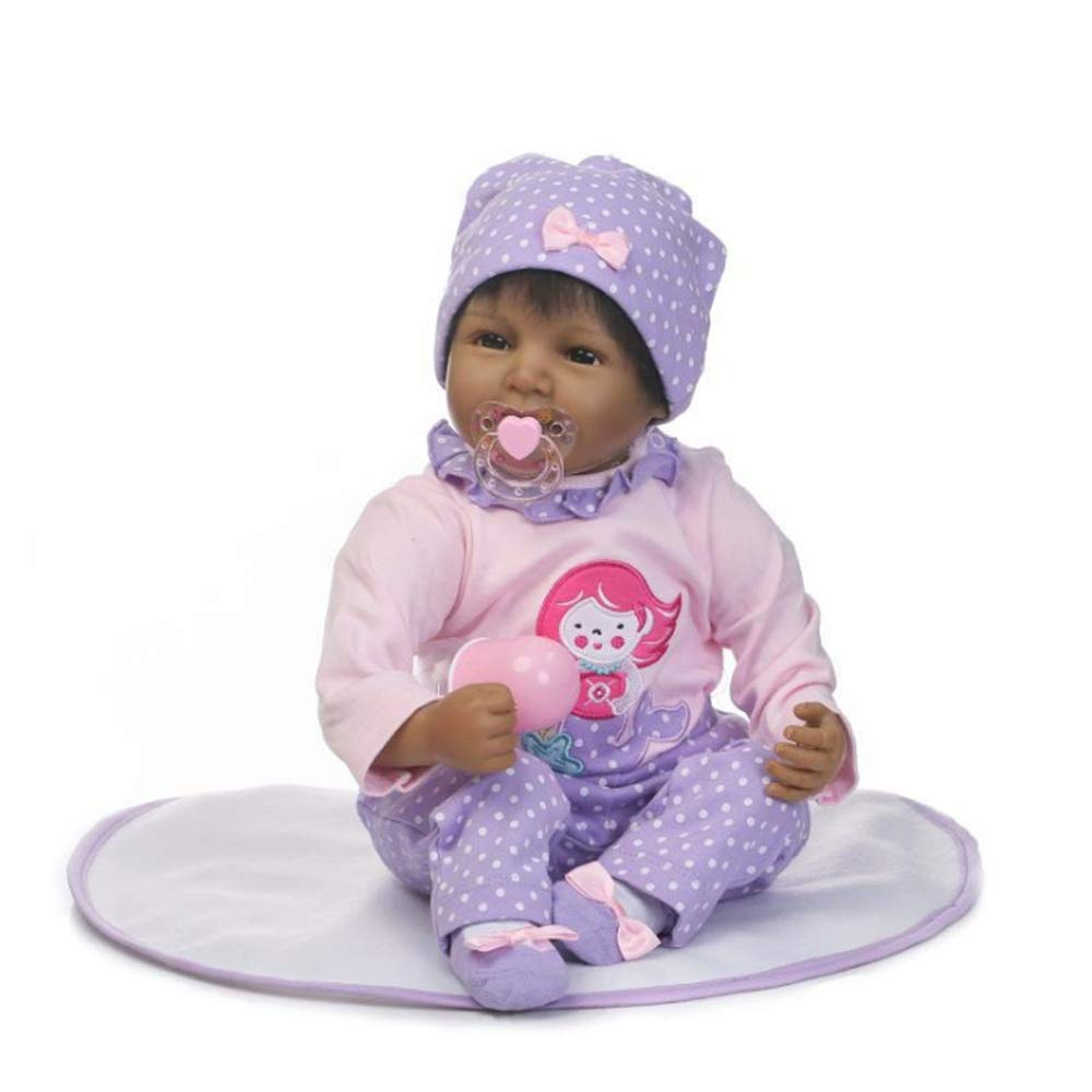 Kids Beach Toys Cute Black Baby Doll Rewborn Nursery Alive Doll Realistic Pretend Role Play Kids Toys Cute Newborn Baby Girl Doll Lifelike With Clothes Hat Feeding Toys Milk Bottle Baby Toddlers Infan