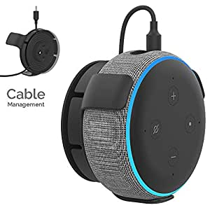 AhaStyle ABS Wall Mount Hanger Holder [Built-in Cord Management] Compatible with All-New Echo Dot 3rd Generation (Black)