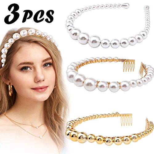 Bascolor Pearl Headbands for Women 3pcs Elegant Vintage Bling Headwear Pearl Bridal Headband for Wedding Pearl Head Hoops Hair Accessories
