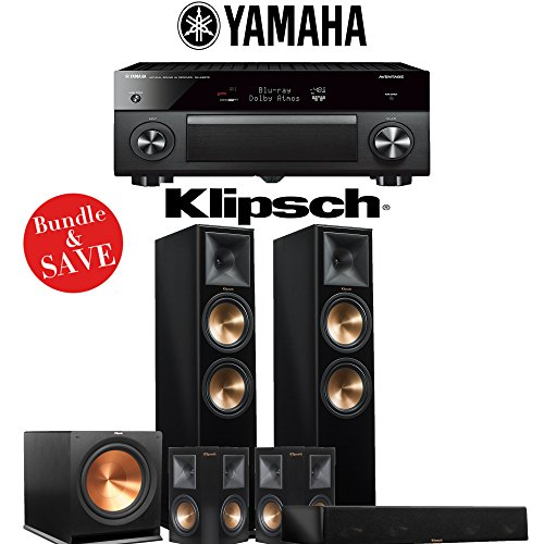 Klipsch RP-280F 5.1-Ch Reference Premiere Home Theater System (Piano Black) with Yamaha AVENTAGE RX-A2070BL 9.2-Channel Network A/V Receiver