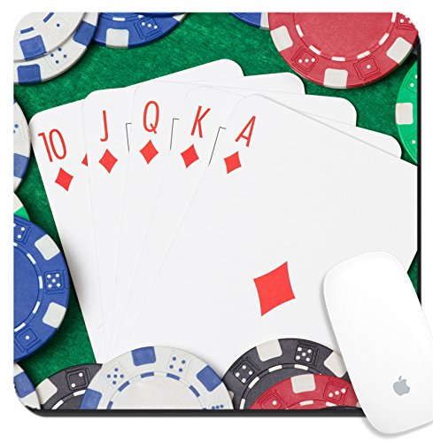 Luxlady Suqare Mousepad 8x8 Inch Mouse Pads/Mat design IMAGE ID: 24878434 royal flush combination and poker chips on the green casino table