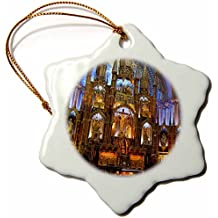 3dRose orn_71117_1 Quebec, Montreal, Notre Dame Basilica, Church CN10 CMI0070 Cindy Miller Hopkins Snowflake Porcelain Ornament, 3-Inch