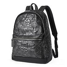 UIYI Mens Leather Backpack Crocodile Pattern Outdoor Shoulder Bag 170086