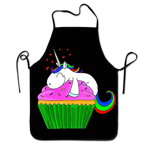 NVJUI JUFOPL Aprons for Women Unicorn Cupcake Cute Aprons Chef Kitchen Cooking and Men Baking Bib BBQ Apron -